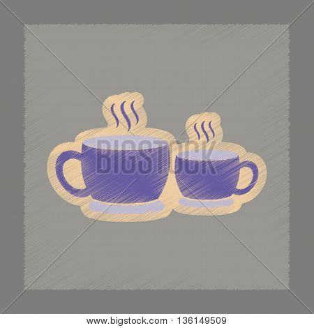 flat shading style icon cups hot coffee