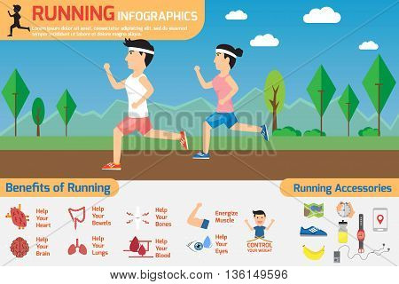 running infographics. benefits of running exercise with running accessories. healthy concept vector illustration.