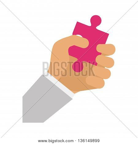 Piece of game concept represented by puzzle and human hand icon. isolated and flat illustration