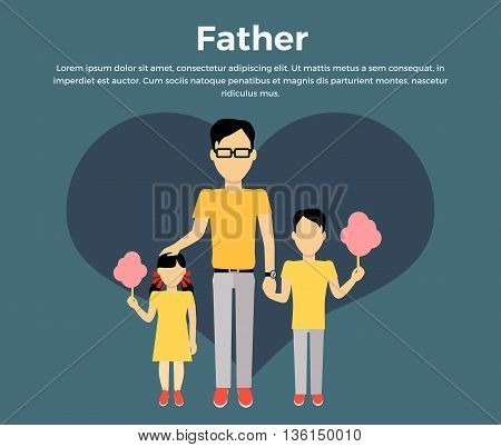 Father with children banner concept. Daddy holding hand of his daughter and son. Family and parent, girl and boy with dad, happiness together love parenting brother and sister, vector illustration