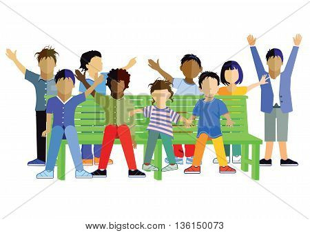 Children on a garden Park bench, play, young, funny,