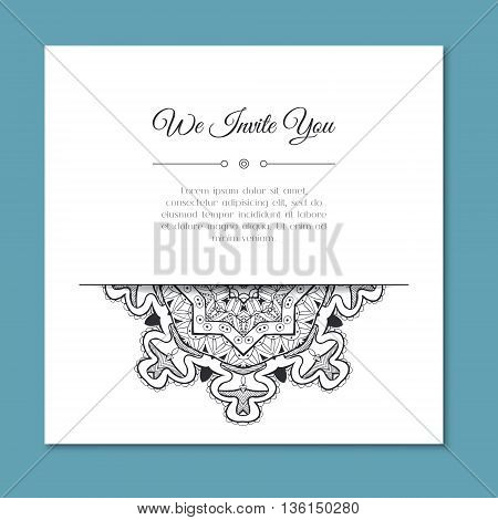 Hand drawn zentangle mandala. Abstract doodle border for background decoration. Ornamental black and white design. Good for card invitation presentation template notebook cover. Vector illustration