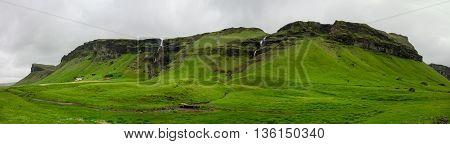 Icelandic landscape with waterfalls near Foss a Sidu
