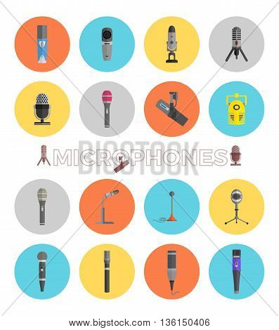 Microphone set design flat isolated icon, vintage microphone stand, sound media, record vocal musical web broadcasting microphone vector illustration