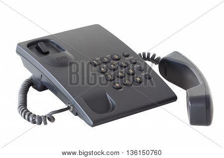 black plastic phone isolated on white background