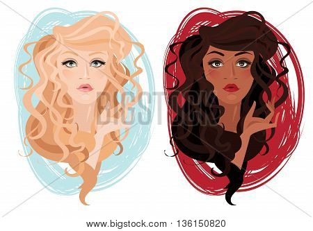 two vector portrait of beautiful young girls with curly hair, vector illustration