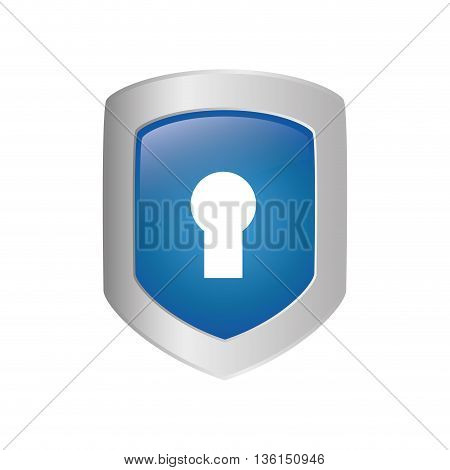 Security system concept represented by padlock and shield icon. isolated and flat illustration