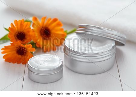 Yogurt cosmetic cream with calendula flowers vitamin spa lotion organic herbal skin cleansing moisturizer product. Medical dermatology anti aging, acne, blemish, pimple, blackhead clear treatment