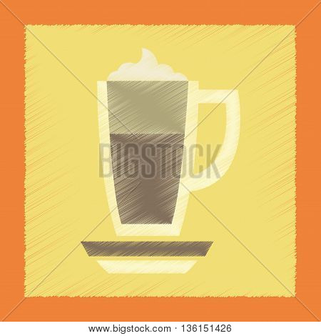 flat shading style icon coffee cup of latte