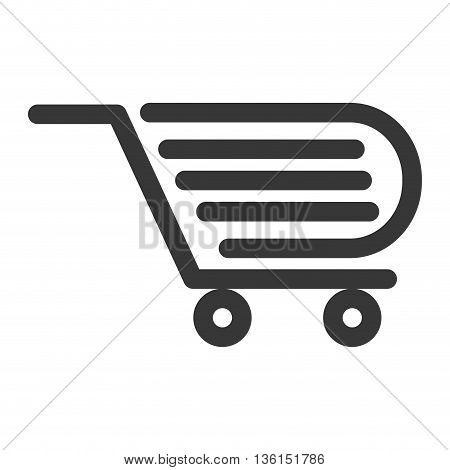 Shopping and commerce concept represented by shopping cart icon. isolated and flat illustration