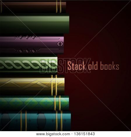 Stack of multi colored book, vector illustration.