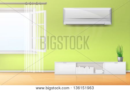 empty room with windows and air conditioner. vector illustration.