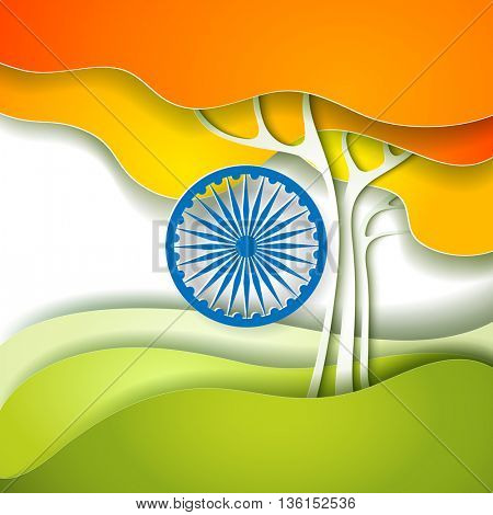 Indian Independence Day concept background with Ashoka wheel and freedom tree. Vector Illustration