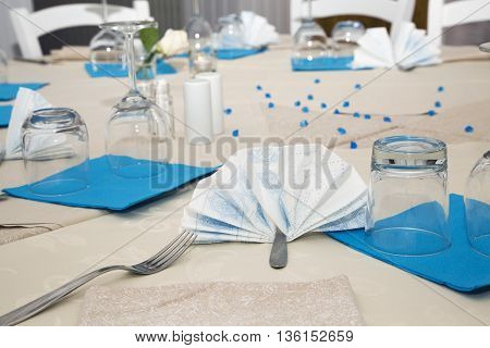 Decorated White And Blue Table