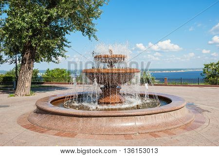 Fountain in the park on the embankment of the Volga River in Ulyanovsk