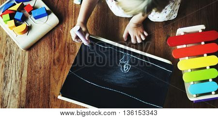 Little Girl Child Development Knowledge Education Concept