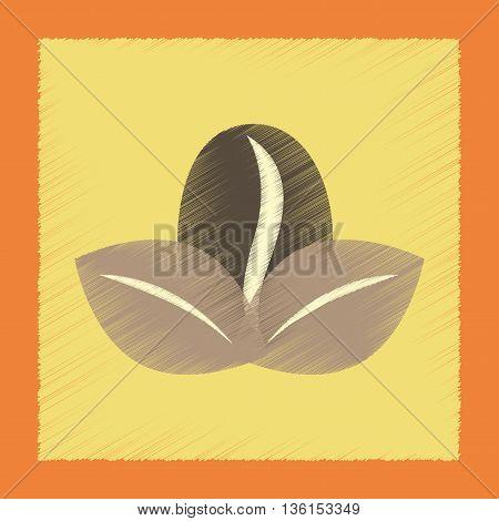 flat shading style icon coffee bean leaf