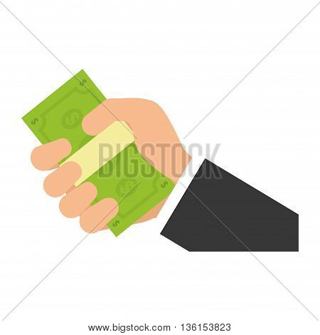 Money concept represented by hand holding bills icon. isolated and flat illustration