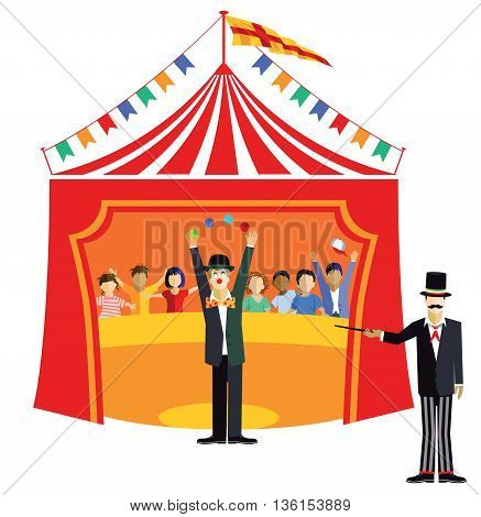 Circus with clown and ringmaster, fairground, carnival, entertainment