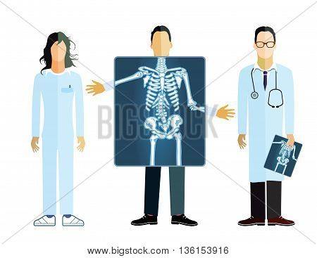 X-ray medical photograph, physician, roentgen, patient, skeleton