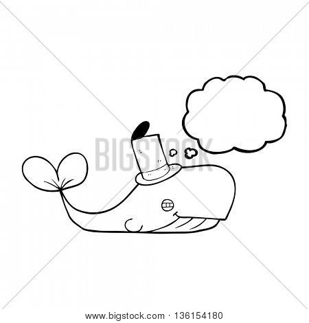 freehand drawn thought bubble cartoon whale wearing hat