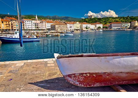 Town of Senj waterfront and boats view Croatia