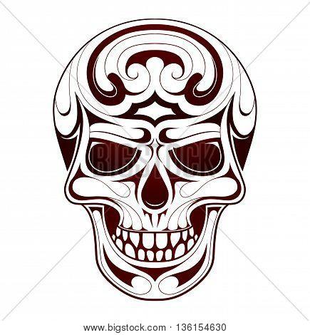 Skull tribal tattoo with ethic style swirls