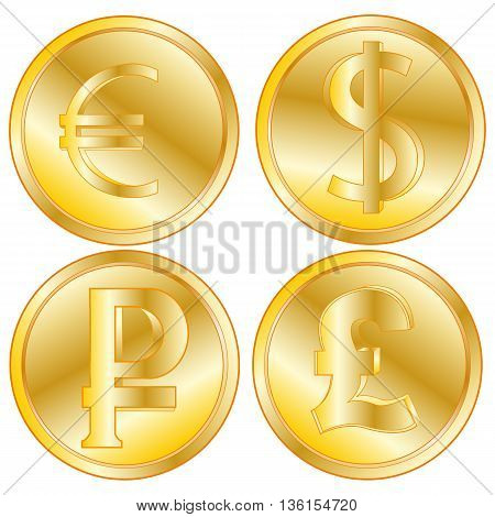 Coins from gild and money signs of the different countries