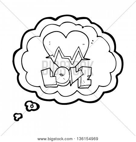 freehand drawn thought bubble cartoon heart rate pulse love symbol