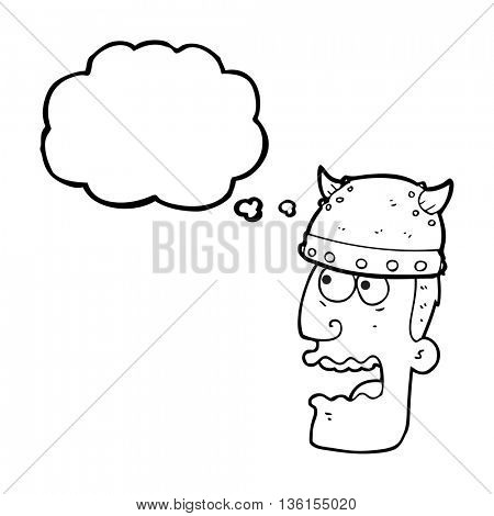 freehand drawn thought bubble cartoon screaming warrior man