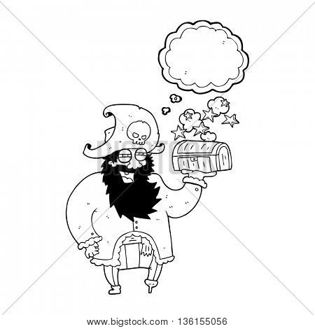 freehand drawn thought bubble cartoon pirate captain with treasure chest
