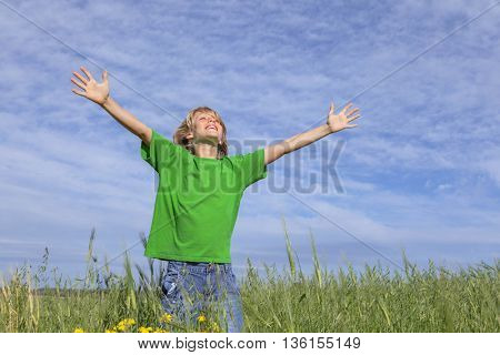 happy healthy smiling summer child arms outstretched