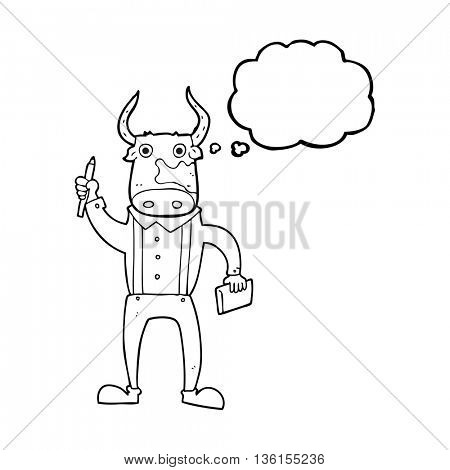 freehand drawn thought bubble cartoon bull man