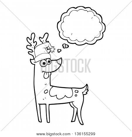 freehand drawn thought bubble cartoon crazy reindeer