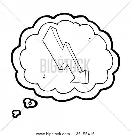 freehand drawn thought bubble cartoon arrow down trend