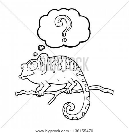 freehand drawn thought bubble cartoon curious chameleon