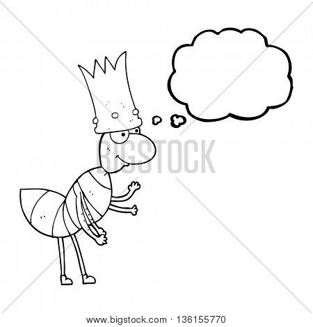 freehand drawn thought bubble cartoon ant queen