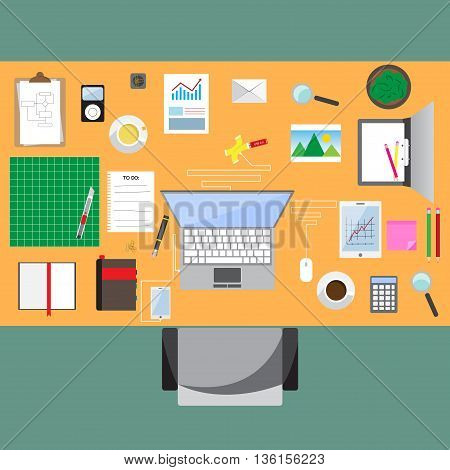Business workplace with office table top view cup of coffee digital tablet smartphone usb hub papers and various office objects on table. flat design vector illustration.