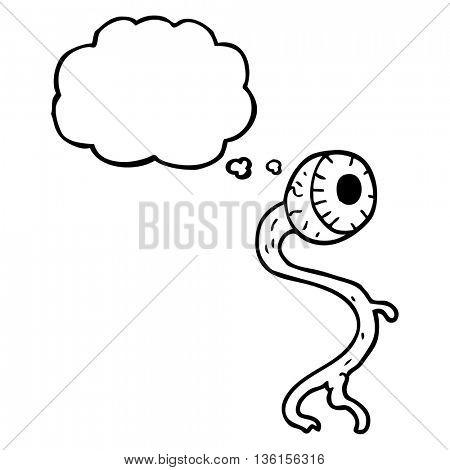 gross freehand drawn thought bubble cartoon eyeball