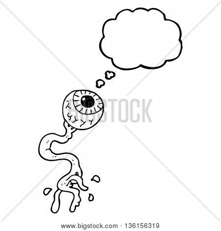 freehand drawn thought bubble cartoon gross eyeball
