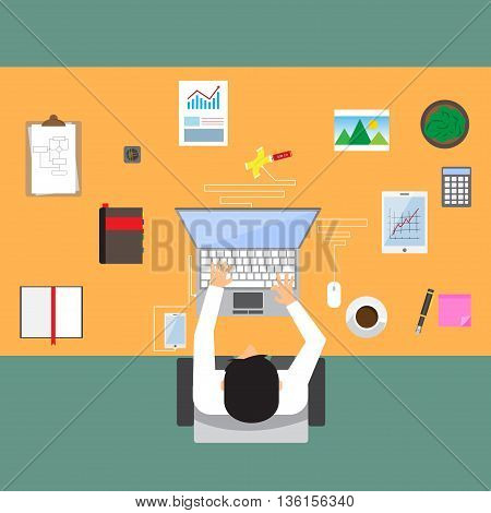 businessman in workplace with office table top view cup of coffee digital tablet smartphone usb hub papers and various office objects on table. flat design vector illustration.