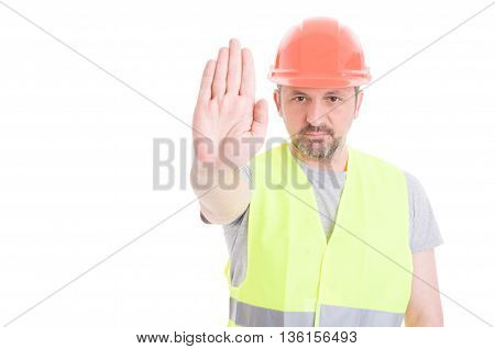 Constructor In Protection Equipment Doing Stop Gesture