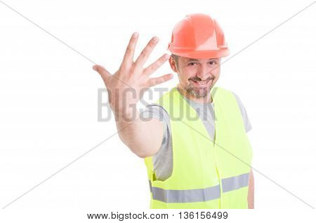 Handsome Young Engineer Showing Number Five Or Fifth