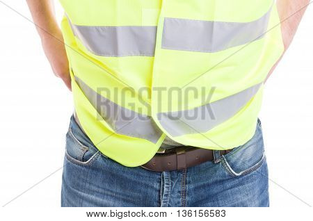 Man Constructor In Blue Jeans Wearing Reflective Safety Vest