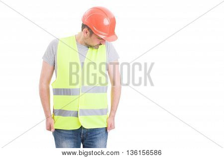 Young Constructor Wearing Hardhat And Reflective Yellow Vest