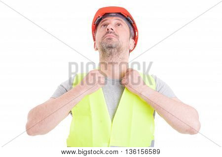 Portrait Of Young Male Builder Fixing His Protection Equipment