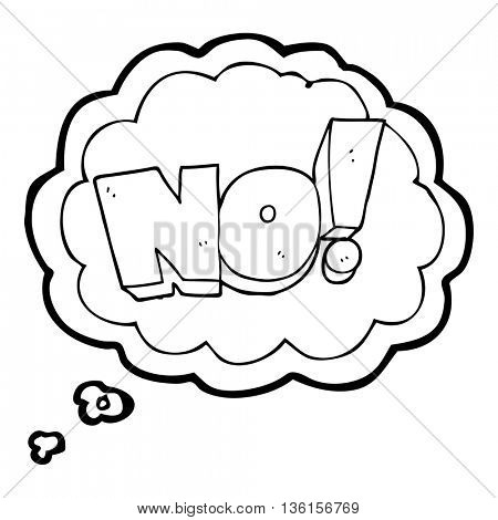 freehand drawn thought bubble cartoon NO! shout