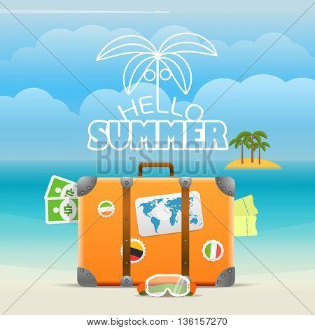 Summer seaside vacation illustration. Vector travel illustration