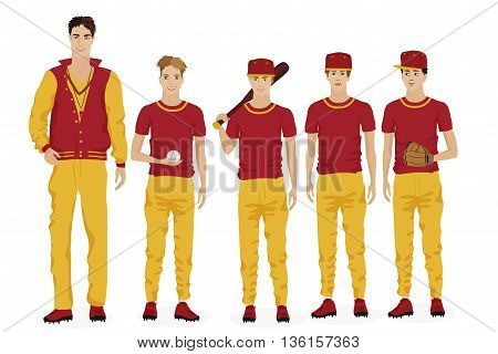 Young guys school baseball team with coach trainer. Vector illustration