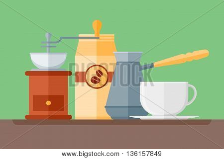 Coffee shop flat style horizontal banner. Coffee cup, pot, grinder and packaging. Vector illustration.